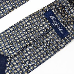 Brooks Brothers Blue & Gold Square Print Tie